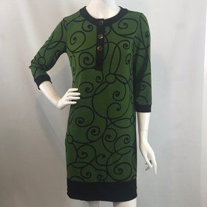 London Times Green & Black Shift Dress